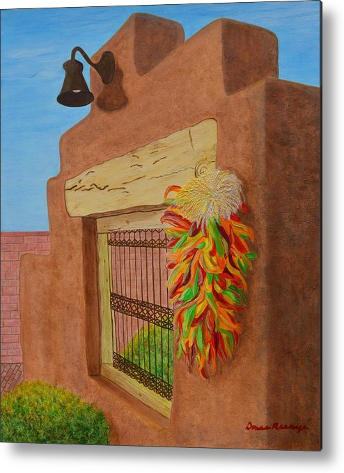 Southwest Metal Print featuring the painting Los Chiles by Donna Manaraze