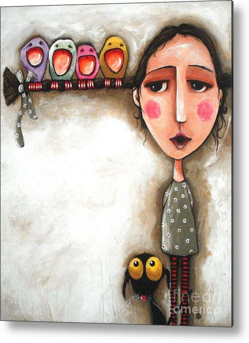 Lucia Stewart Metal Print featuring the painting Me And My Birds by Lucia Stewart