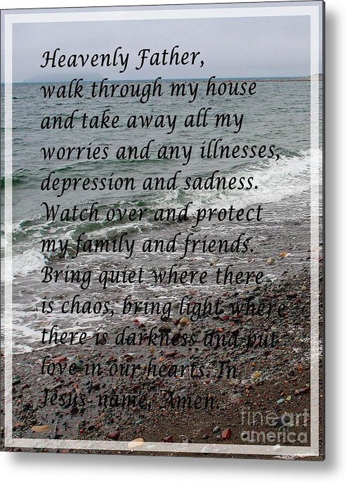 Most Powerful Prayer With Seascape Metal Print featuring the digital art Most Powerful Prayer With Seascape by Barbara Griffin