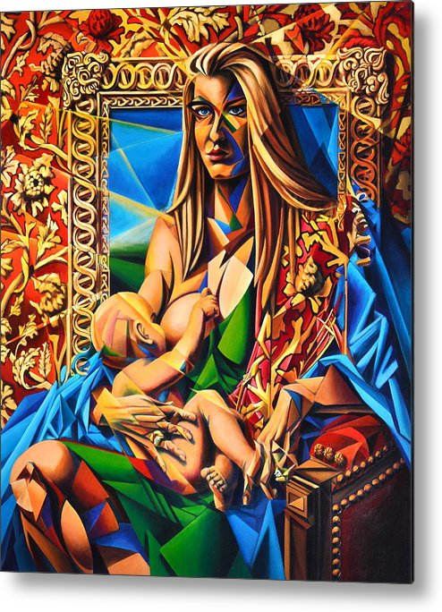 Girl Metal Print featuring the painting Mother And Child by Greg Skrtic