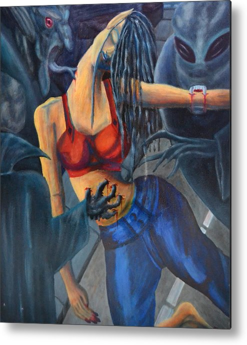 Woman Metal Print featuring the painting Nightmare On The Street Of San Francisco by Vykky Gamble