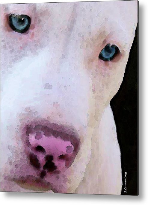 Pit Bull Metal Print featuring the painting Pit Bull Art - Not A Fighter by Sharon Cummings