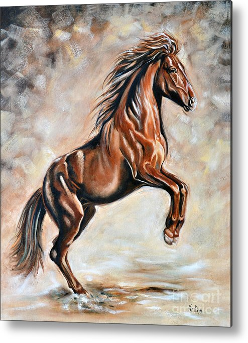 Horse Metal Print featuring the painting Red Beauty by Ilse Kleyn