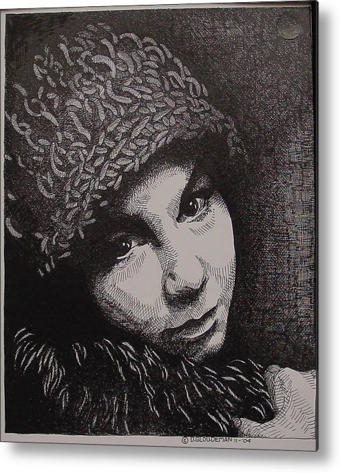 Portraiture Metal Print featuring the drawing Rena by Denis Gloudeman