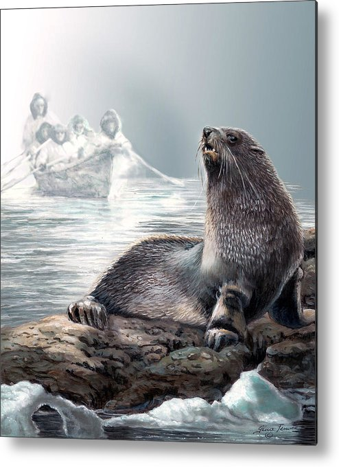 Painting By Gina Femrite Metal Print featuring the painting Harp Seal And Native Hunters by Regina Femrite