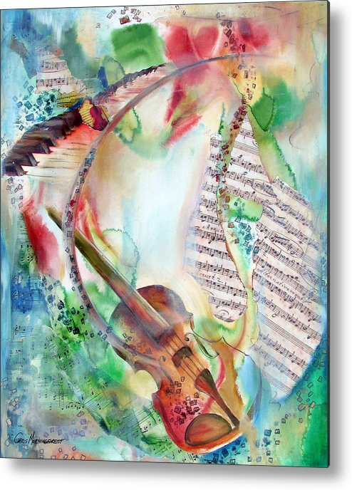 Music Metal Print featuring the painting Softly The Morning by Chris Morningforest