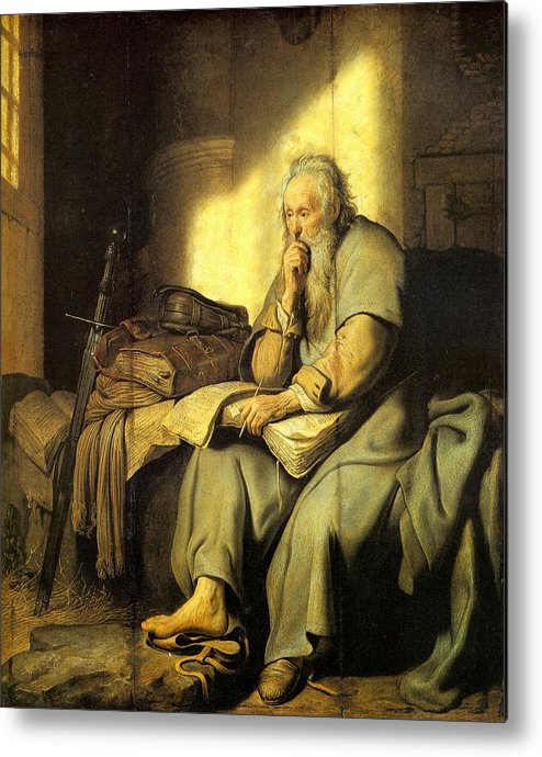 1627 Metal Print featuring the painting St. Paul In Prison by Rembrandt van Rijn