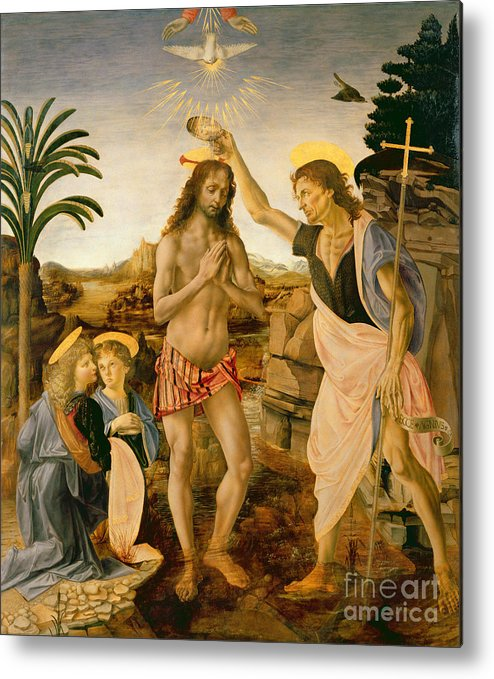 Son Of God Metal Print featuring the painting The Baptism Of Christ By John The Baptist by Leonardo da Vinci