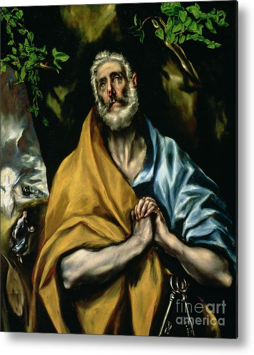 Repentance; Confession; Christs Resurrection; Angel; Leaves; Sepulchre; Mary Magdalen; Clasped Hands; Ivy Metal Print featuring the painting The Tears Of St Peter by El Greco Domenico Theotocopuli