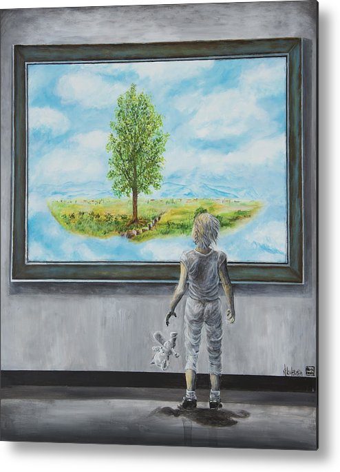 Painting Of Paintings Metal Print featuring the painting The World You Thought You Lived In by Nik Helbig