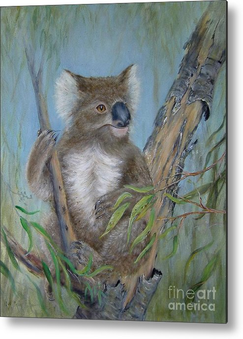 Koalas Metal Print featuring the painting Up A Gum Tree by Rita Palm