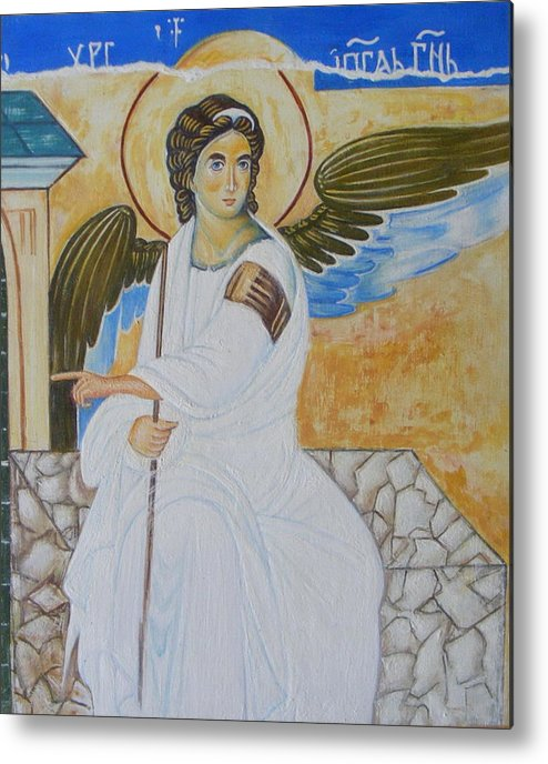 Serbian Metal Print featuring the painting White Angel by Jovica Kostic