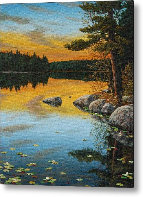 Jake Vandenbrink Metal Print featuring the painting An Evening Glow by Jake Vandenbrink