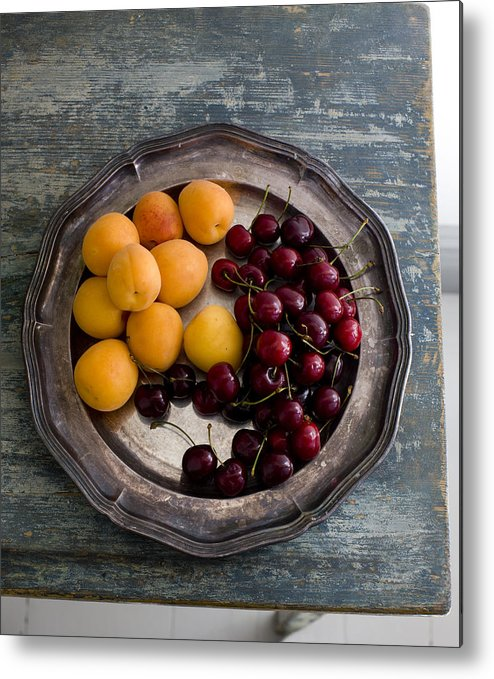 Vertical Metal Print featuring the photograph Apricots And Cherries On Silver Tray by Bjurling, Hans