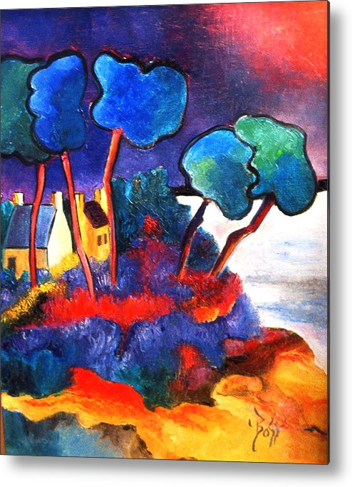 Land Metal Print featuring the painting Carteret - Normandy by Boss Art