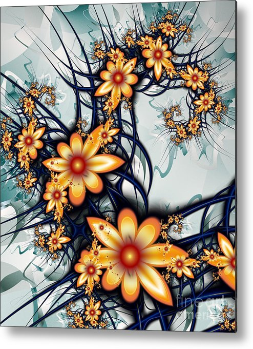 Fractals Metal Print featuring the digital art Flower Power by Anna Manfredini