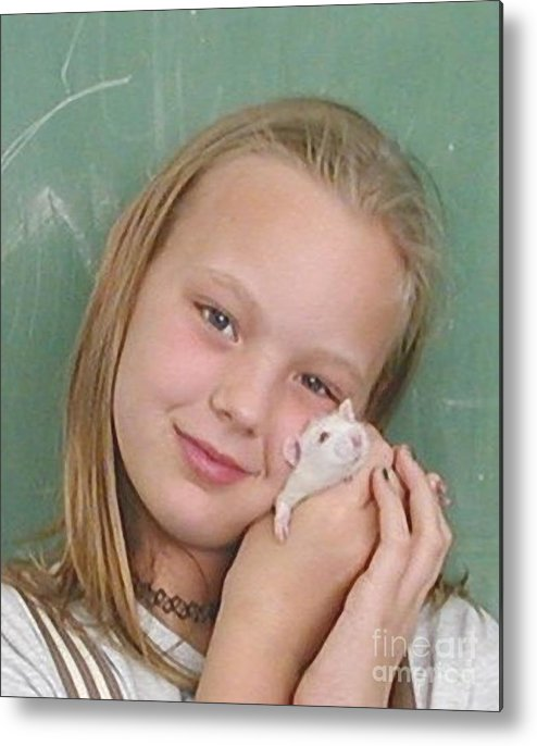 Girl Metal Print featuring the photograph Lovely Girl With Pet by Renee Trenholm