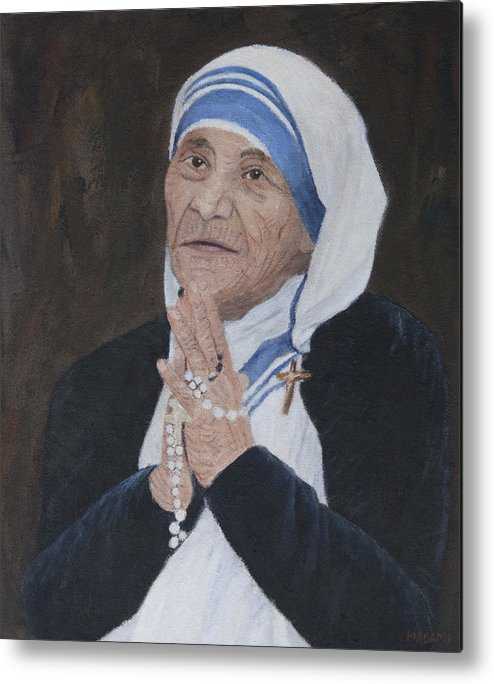 Portrait Metal Print featuring the painting Mother Teresa by Masami Iida