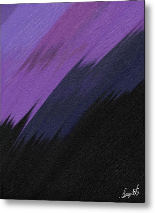 Digital Metal Print featuring the painting Purple Sunrise by Lance Kelly