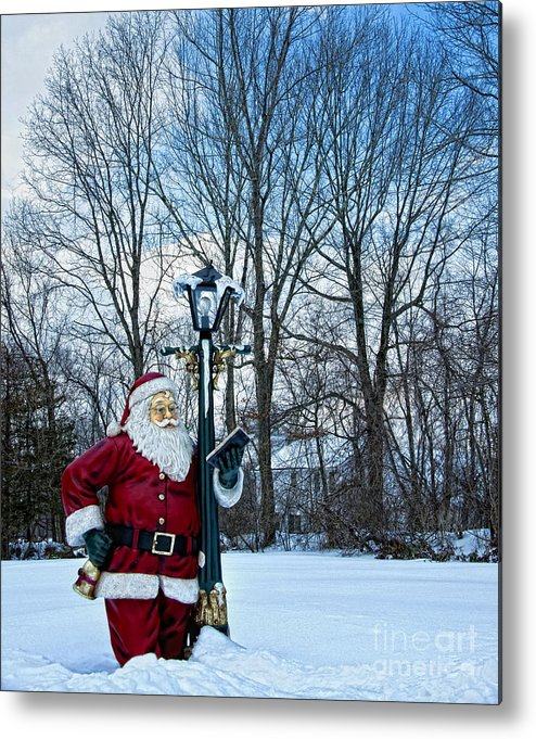 Santa Clause Photography Prints Metal Print featuring the photograph Santa's Checking His List by Loriannah Hespe