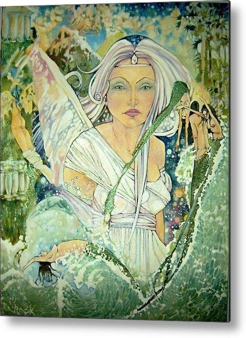 Angel Mermaids Ocean Metal Print featuring the drawing Sister Angel by Jackie Rock
