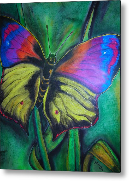 Still Life Metal Print featuring the drawing Still Butterfly by Juliana Dube