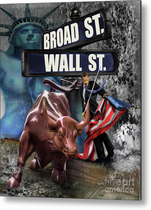 Wall Street Metal Print featuring the painting Ole Obama - Ole - Ole - Ole by Reggie Duffie