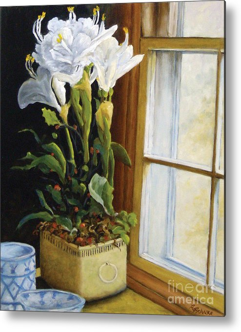 Art Metal Print featuring the painting Lillies by Richard T Pranke