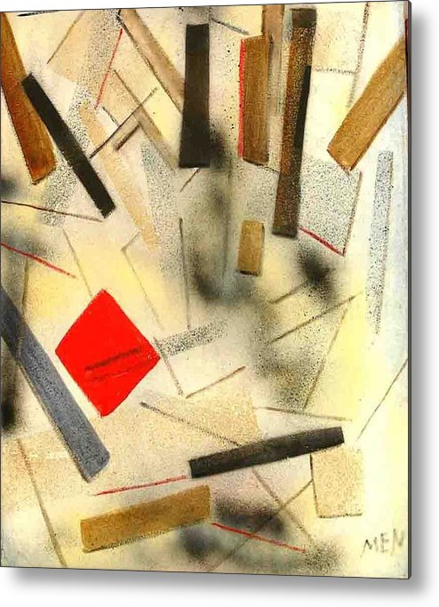Metal Print featuring the painting 1 Red Object by Evguenia Men
