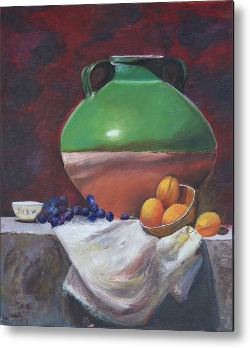 Vase Metal Print featuring the painting Vase by Taly Bar