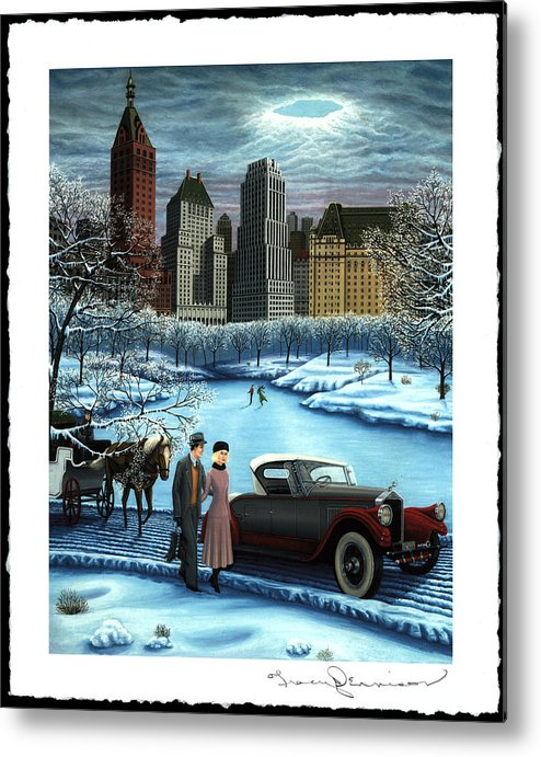 Plaza Hotel Metal Print featuring the painting Winter Wonderland by Tracy Dennison