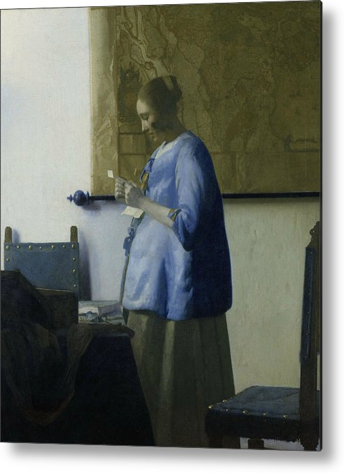 Jan Vermeer Metal Print featuring the painting Woman Reading A Letter by Jan Vermeer