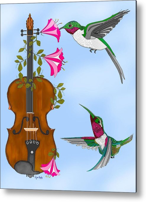 Fantasy Metal Print featuring the painting Singing The Song Of Life by Anne Norskog