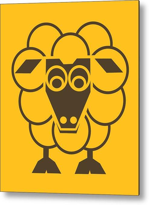 Sheep Metal Print featuring the painting Sleep-sheep - Lonvig By Minymo by Asbjorn Lonvig