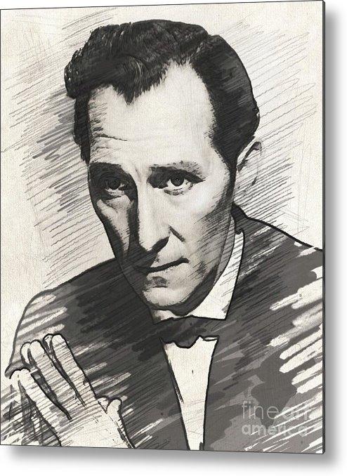 Peter Metal Print featuring the digital art Peter Cushing, Vintage Actor by John Springfield