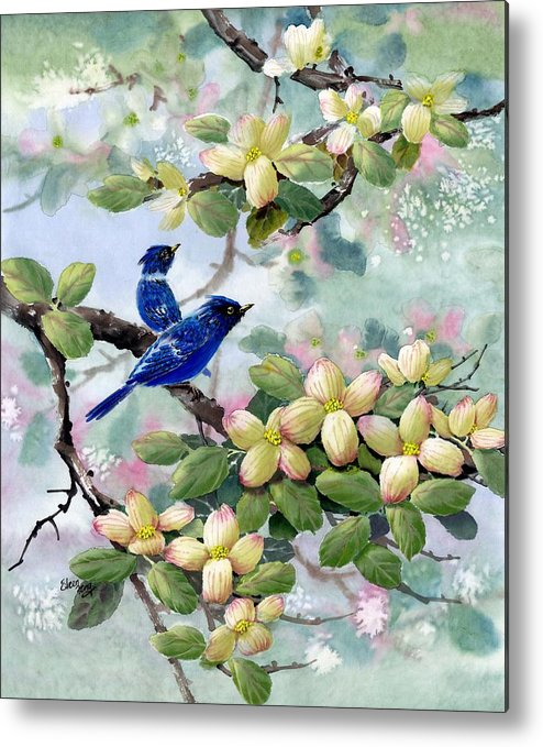 Blue Jays Metal Print featuring the painting A Touch Of Pink On White by Eileen Fong