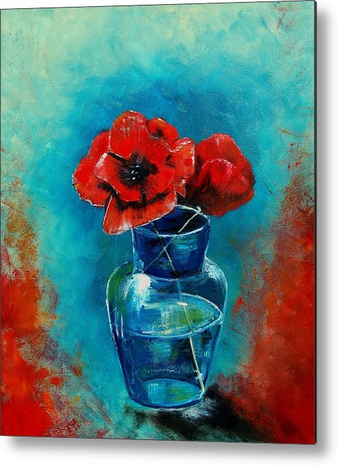 Flowers Metal Print featuring the painting A Vase With Poppies by Veronique Radelet