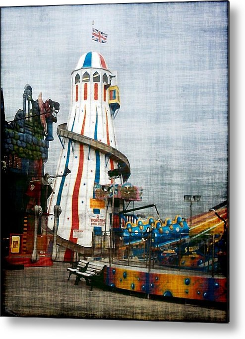 Brighton Uk Pier Sussex England Seaside Fairground Metal Print featuring the photograph All Quiet On The Pier by Susan Epps Oliver