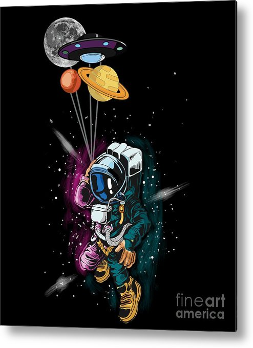 Galaxy Metal Print featuring the digital art Astronaut Ufo Balloon Outer Space Shuttle by Thomas Larch