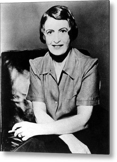 1950s Metal Print featuring the photograph Ayn Rand, 1957 Author Of Atlas Shrugged by Everett