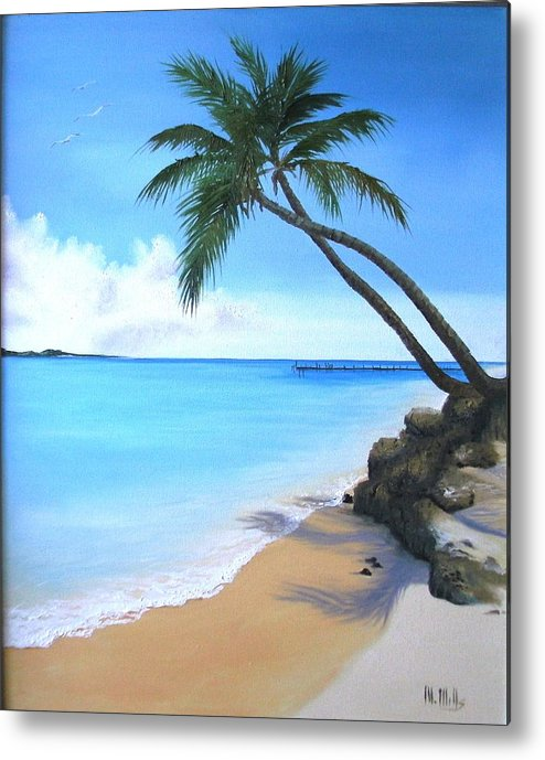 Beach Metal Print featuring the painting Bahamian Twin Palms by Maria Mills