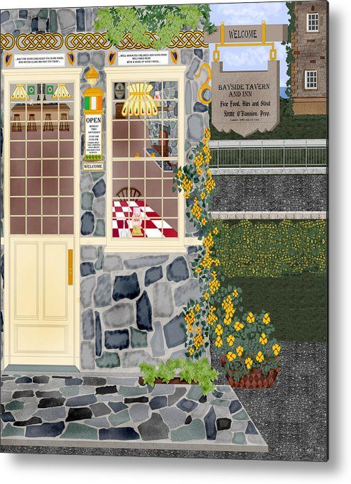 Quaint Inn Metal Print featuring the painting Bayside Inn And Tavern In Ireland by Anne Norskog