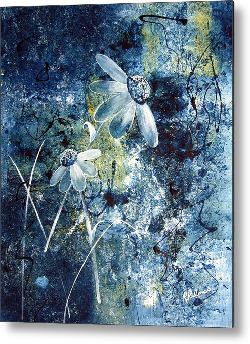 Abstract Metal Print featuring the painting Blue Beauties by Ruth Palmer