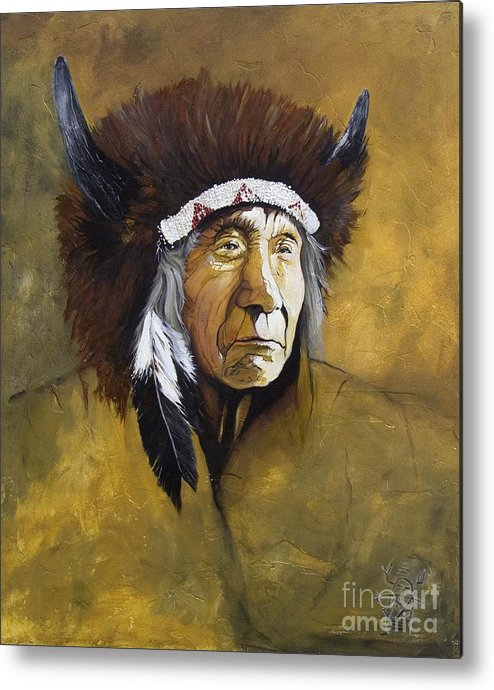 Shaman Metal Print featuring the painting Buffalo Shaman by J W Baker