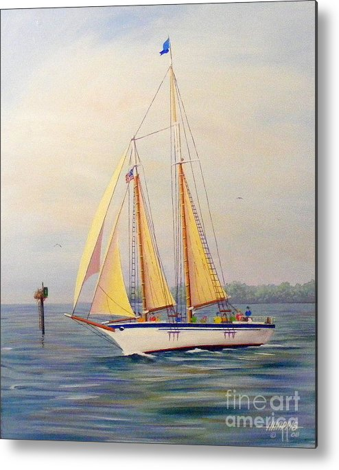 Water.blue Metal Print featuring the painting Catching The Wind by Hugh Harris