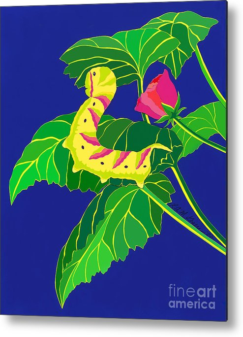 Nature Metal Print featuring the drawing Caterpillar by Lucyna A M Green