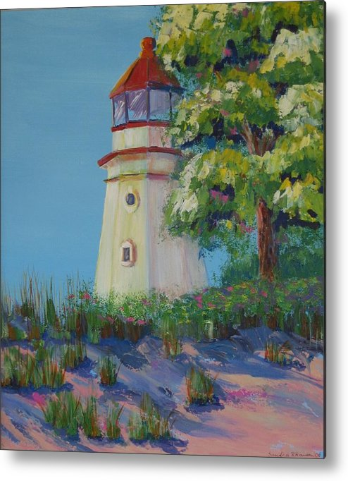 Lighthouse Metal Print featuring the painting Cheboygan Lighthouse by Art Nomad Sandra Hansen