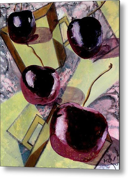 Cherries Metal Print featuring the painting Cherries On Flat Homeware by Evguenia Men