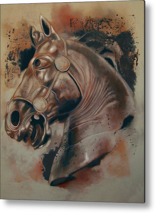 Drawing Metal Print featuring the digital art Classical Horse 5 by Tom Durham