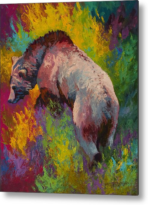 Western Metal Print featuring the painting Climbing The Bank - Grizzly Bear by Marion Rose